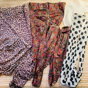 Set of 3 printed panty hose in EUC sz Large/XL